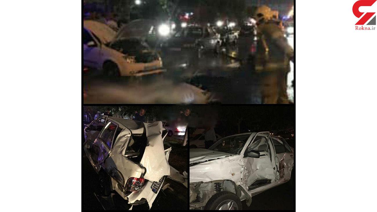 یک تریلی 17 خودرو را در جنوب تهران در هم کوبید + عکس