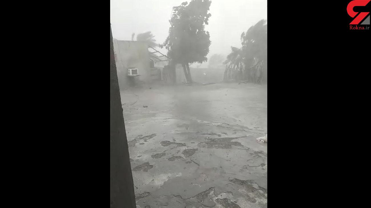 فیلم باورنکردنی از طوفان هولناک در جاسک / همه چیز روی هوا می چرخید