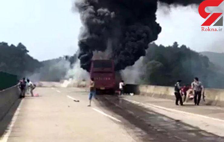 افزایش تلفات آتش گرفتن اتوبوس مسافربری در چین+عکس