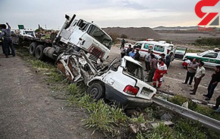 2 کشته در تصادف خودرو پراید با تریلی