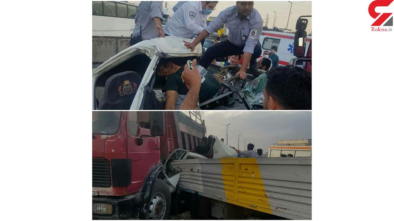 عکس فجیع از تصادف شدید 2 خودروی سنگین در رباط کریم