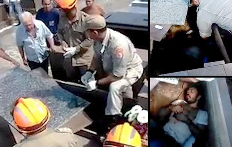 مردی را از قبر زنده درآوردند! + فیلم و عکس
