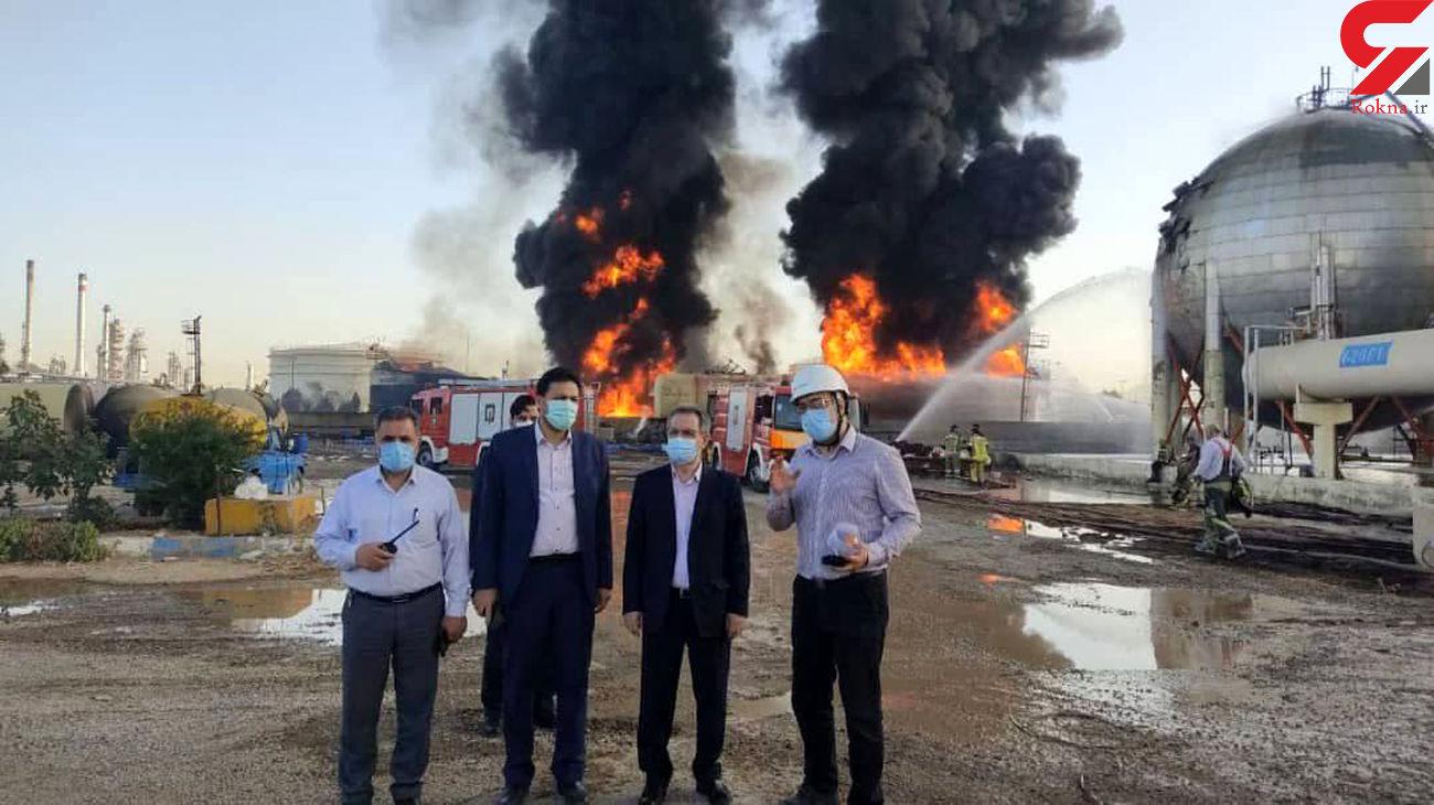 حضور استاندار و فرماندار ویژه شهرستان ری در محل حادثه آتشسوزی پالایشگاه تهران