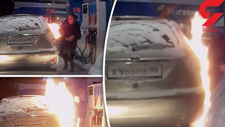 زن سیگاری پمپ بنزین را به آتش کشید + فیلم لحظه حادثه و عکس