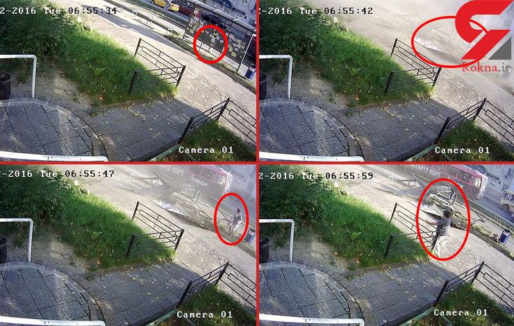 فیلم فرار معجزه آسای زن جوان از تصادف شدید اتوبوس با ایستگاه +تصاویر