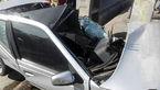 برخورد شدید خودروی پژو با تیر جراغ برق خاوران +تصاویر