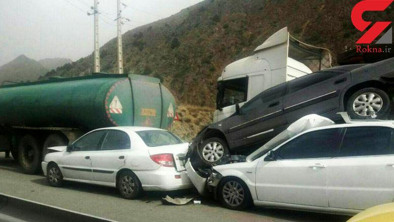 عکس / عجیب ترین تصادف زنجیره ای در جاده فیروزکوه /  زانتیا به پرواز در آمد!