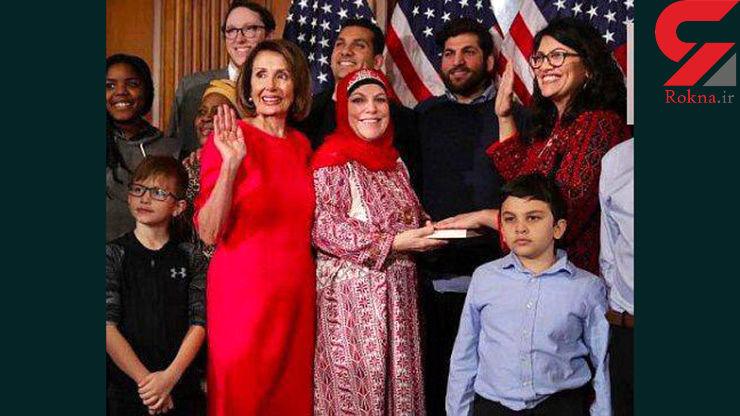 زن فلسطینی عضو جدید کنگره آمریکا با لباس سنتی فلسطین قسم یاد کرد+عکس