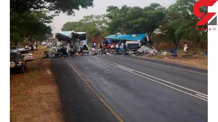 تصاویر فجیع از ۴۷ کشته در تصادف دو اتوبوس در زیمباوه+تصاویر (14+)
