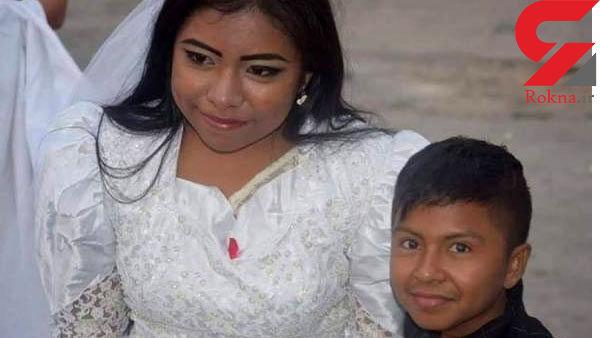 عکس عروسی داماد کوچک در کنار عروس خانم جنجال به پا کرد !+عکس