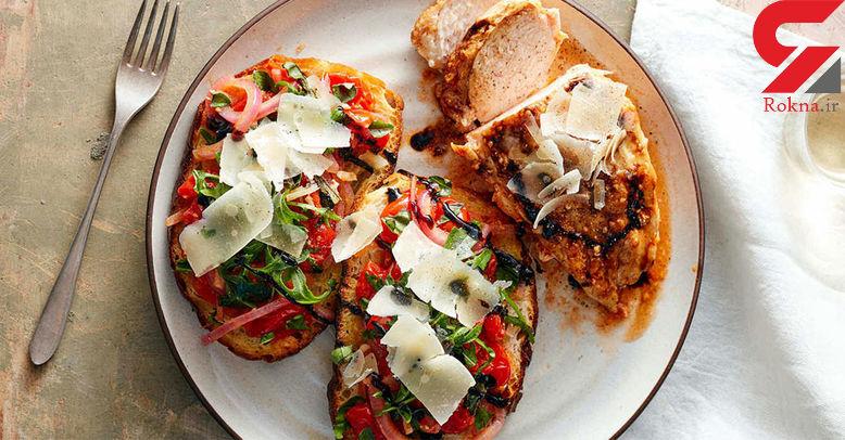 بروسکتای مرغ و پستو یک غذای کلاسیک ایتالیایی+دستور پخت