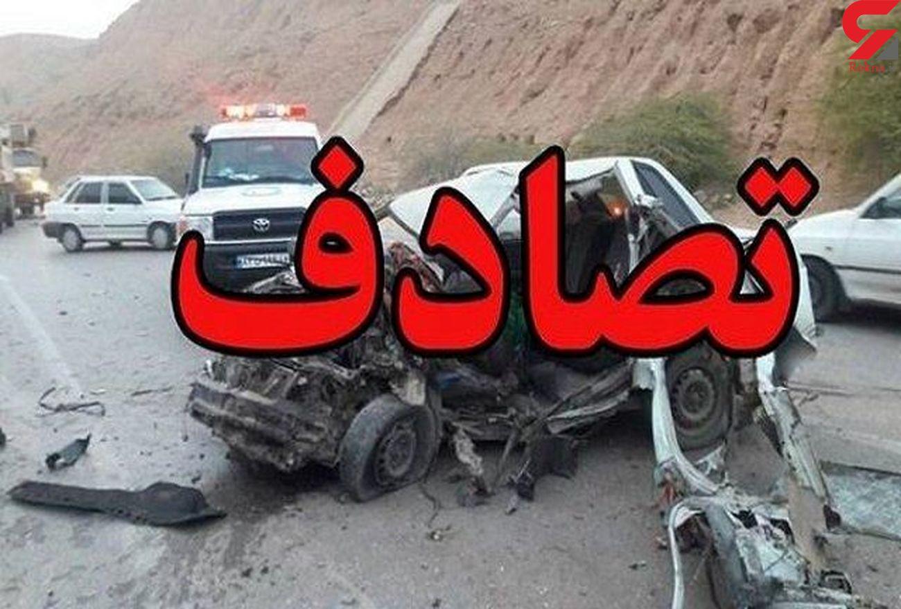 برخورد کامیون و پراید درجاده امامزاده هاشم