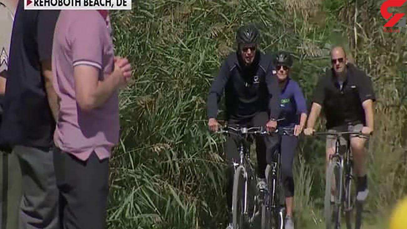 دوچرخه سواری بایدن در ساحل دریا در بحبوحه بحرانهای ملی آمریکا