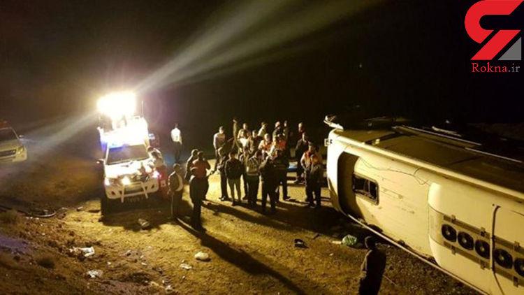 7 کشته در واژگونی اتوبوس کرمان در جاده باغین / 2 بامداد امروز رخ داد + عکس