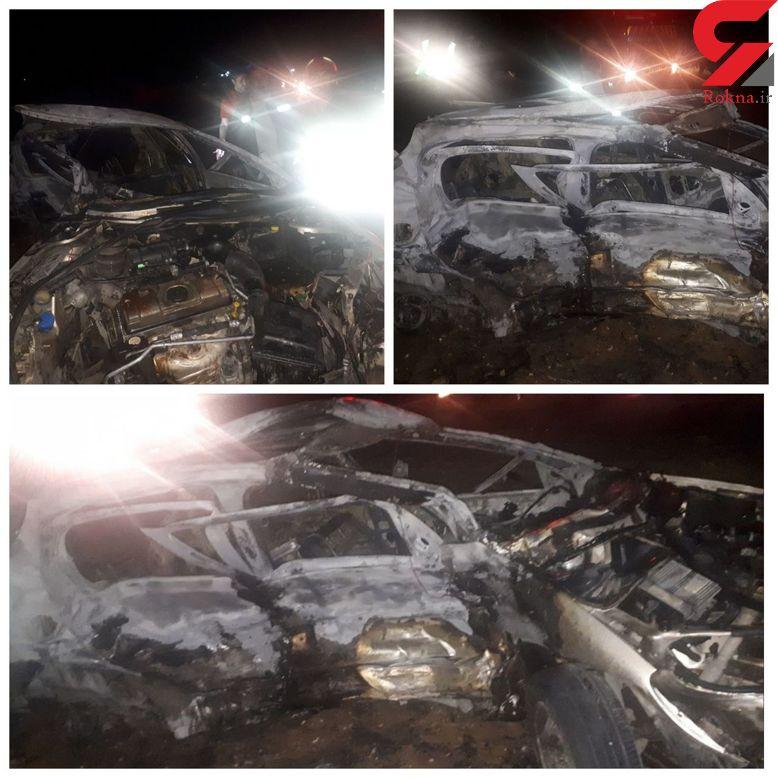 آتش سوزی در پی برخورد دو خودرو، 7 مصدوم برجای گذاشت