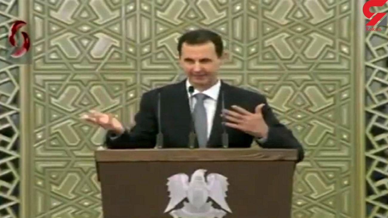 لحظه افت فشار خون بشار اسد در پارلمان جدید سوریه + فیلم