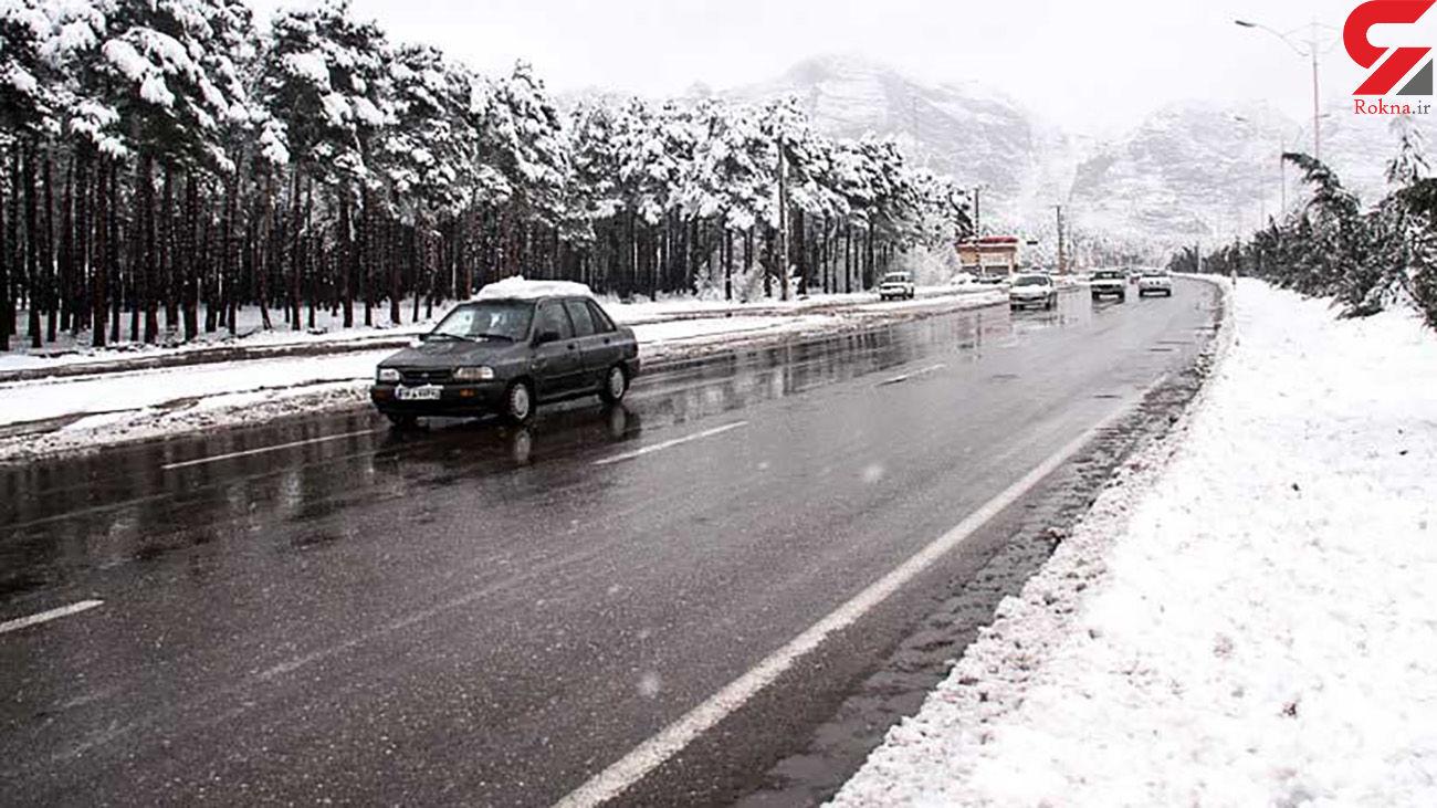 بارش برف و باران در جاده های 9 استان کشور