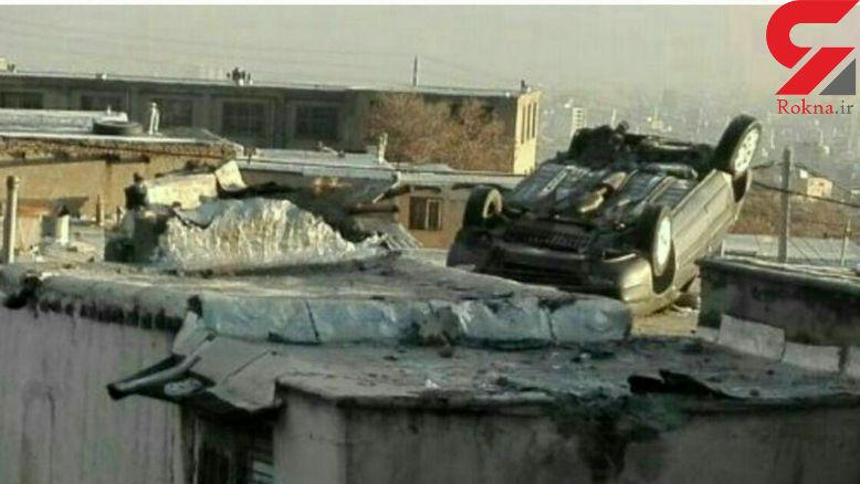 پرواز خودروی زانتیا و فرود آمدن آن روی سقف یک خانه در محله چمن+ عکس عجیب