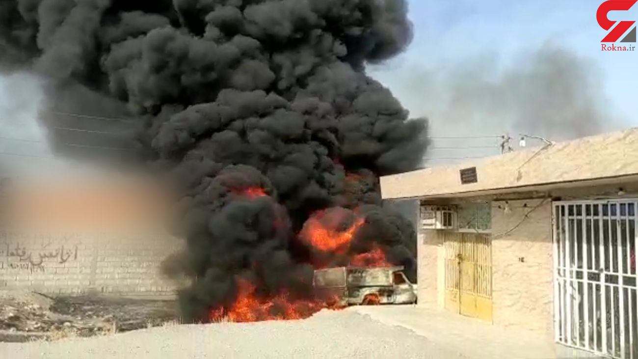 فیلم لحظه آتش گرفتن خودروی حامل سوخت در هرمزگان