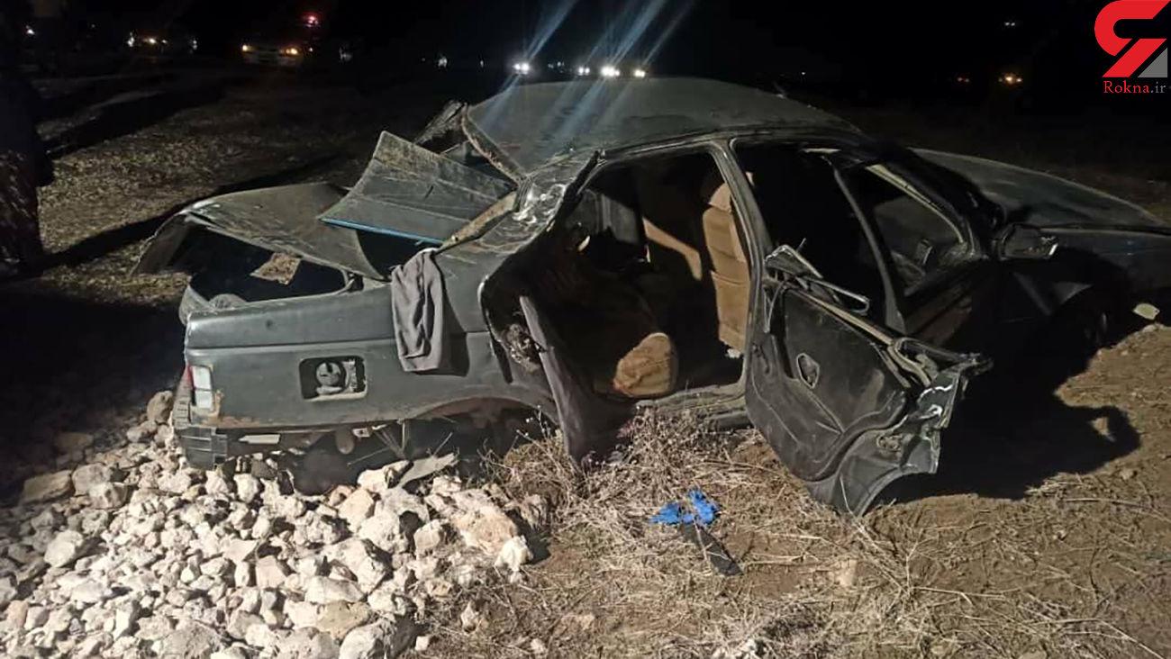 واژگونی مرگبار پژو 405 در اسلام آباد غرب + عکس