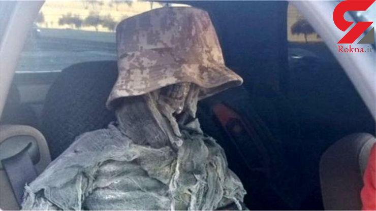 رانندهای که به کمک اسکلت انسان قانون را دور زد + عکس