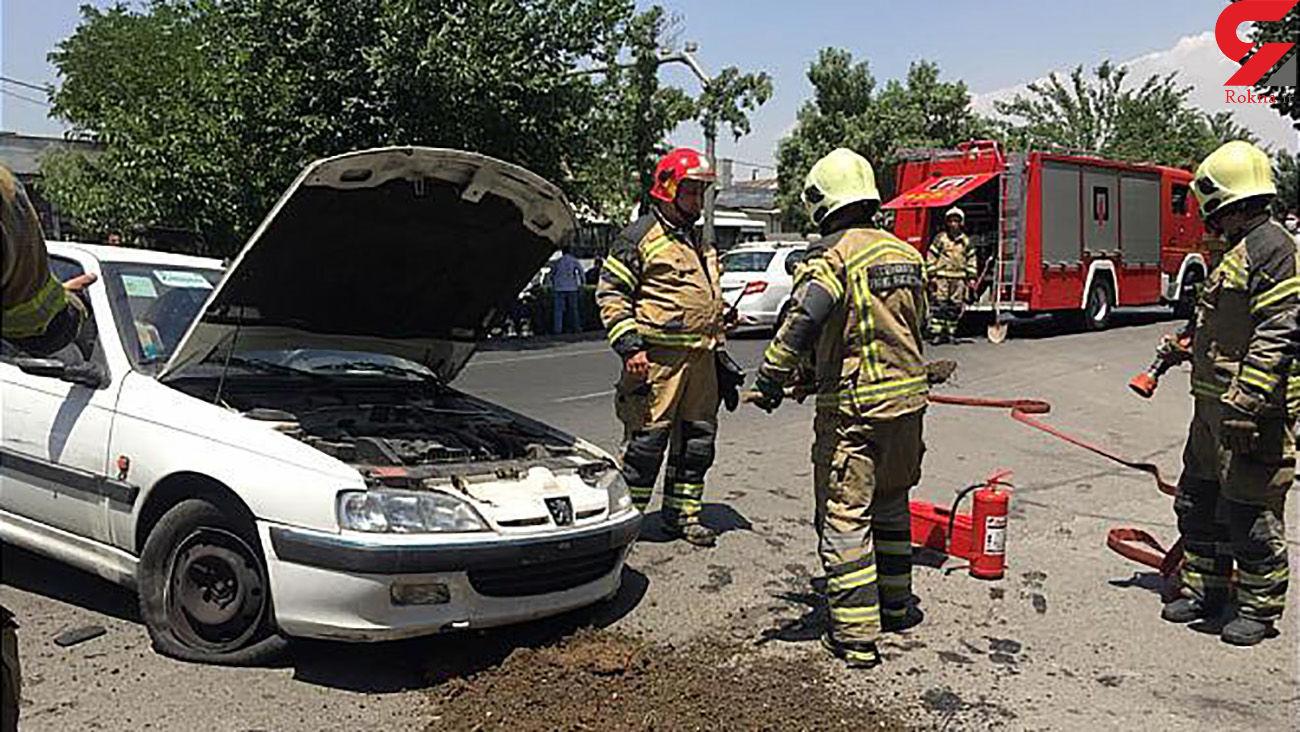 مصدومیت مرد تهرانی در حادثه رانندگی + عکس های محل تصادف