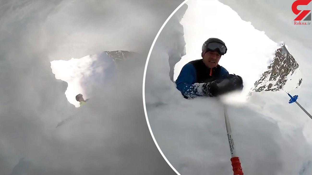زنده دفن شدن یک اسکی  زیر بهمن + فیلم