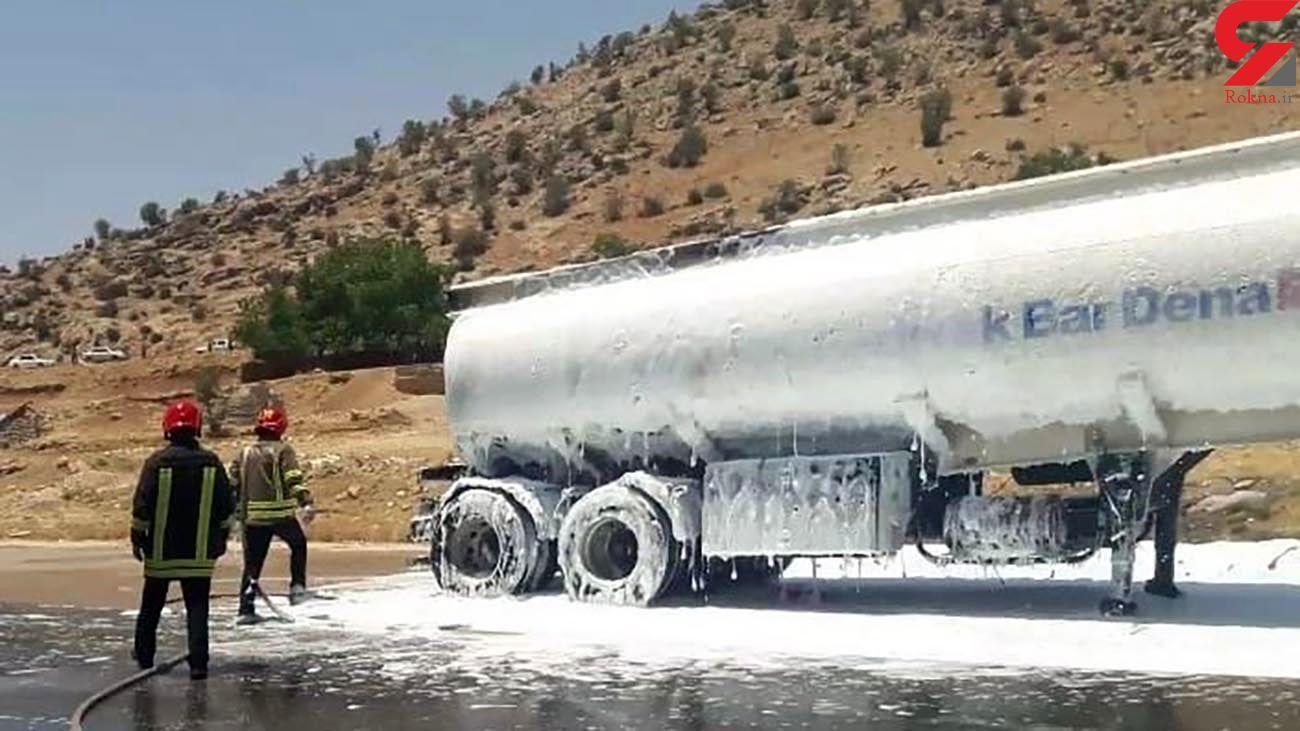 پیشگیری از حادثه آتش سوزی تانکر حامل بنزین در یاسوج +ذ عکس ها