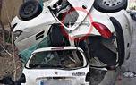 عکس لوله شدن وحشتناک 206 دور تیر چراغ برق در بزرگراه امام علی