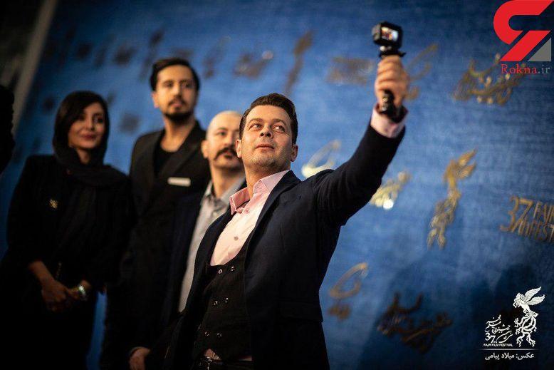 حمید فرخنژاد، ساره بیات و بازیگران «سمفونی نهم» در مراسم فرش قرمز جشنواره فجر+تصاویر