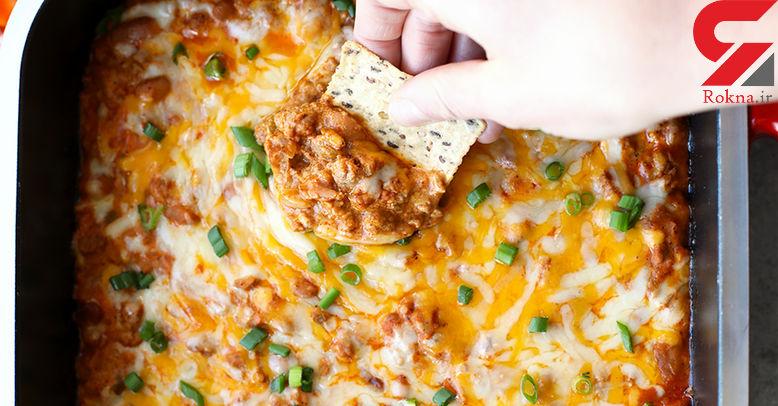 دیپ گوشت و پنیر چیلی یک غذای فوری+دستور تهیه