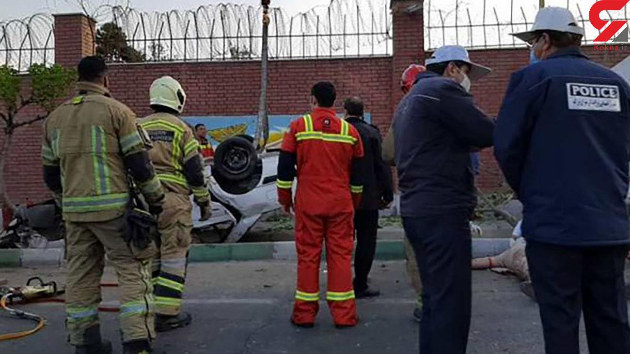 برخورد شدید پژو با پایه پل عابر پیاده/ 5 تهرانی زخمی شدند + عکس ها
