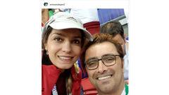 عکس زن و شوهر بازیگر پس از باخت ایران در ورزشگاه روسیه