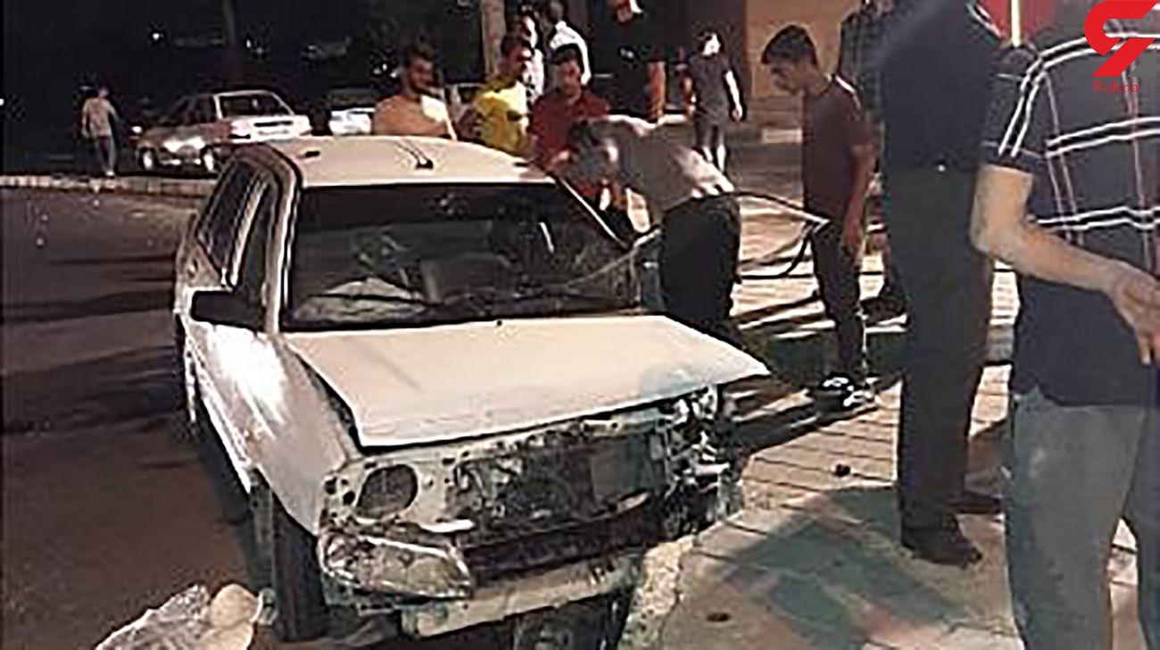 پراید له شد اما راننده تهرانی زنده ماند + عکس ها