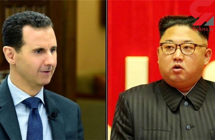 اهدای دسته گل به رهبر کره شمالی توسط بشار اسد