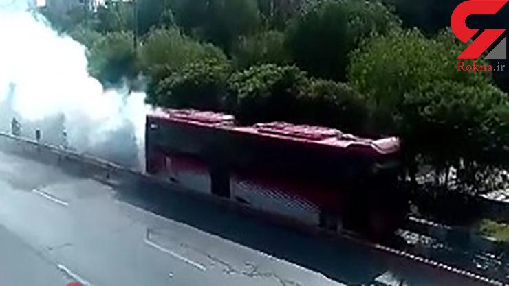 آتشسوزی اتوبوس بی آر تی در اتوبان امام علی (ع)+ عکس
