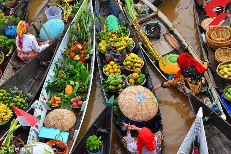 رنگین ترین بازارهای شناور که تاکنون ندیده اید + تصاویر