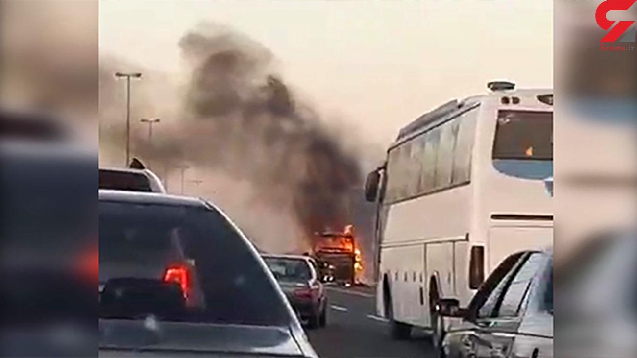 اتوبوس پر از مسافر در جاده آتش گرفت / مسافران چه شدند؟