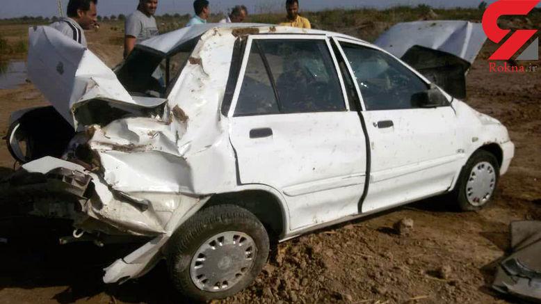 واژگونی خودروی کمک به سیل زدگان خوزستان در نزدیکی اهواز +عکس ها