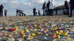 حمله تخممرغی در سواحل شمالی آلمان موجب شادی کودکان ساحلنشین شد! +فیلم و تصاویر
