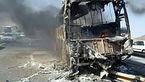 آتش سوزی یک اتوبوس با ۱۷ مسافر در محور سقز