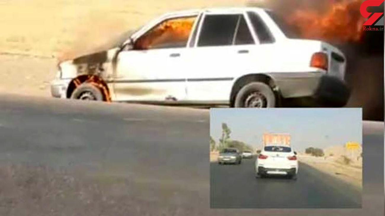 لوطی گری «بی ام و» سوار در جاده دزفول + فیلم و عکس