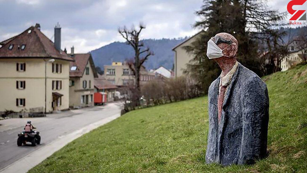 ترویج فرهنگ ماسک زدن با مجسمه + عکس