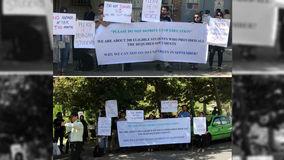 تجمع اعتراضی دانشجویان ایرانی مقابل سفارت ایتالیا در تهران +عکس