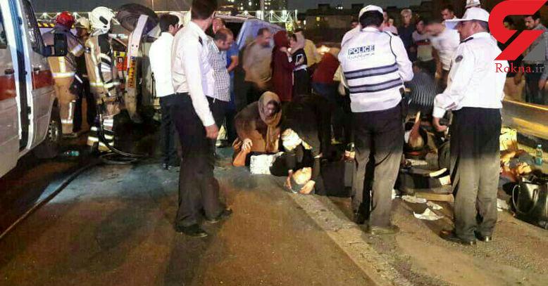 حادثه در بزرگراه آزادگان / 18 تن مصدوم شدند + عکس