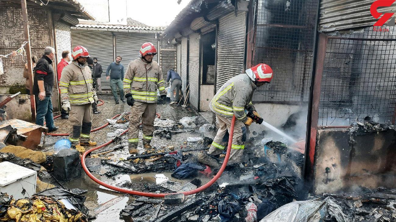 آتش سوزی هولناک در بازار پردسر لاهیجان + عکس
