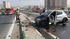 عکس های تصادف پژو 206 با گاردریل در آزادگان