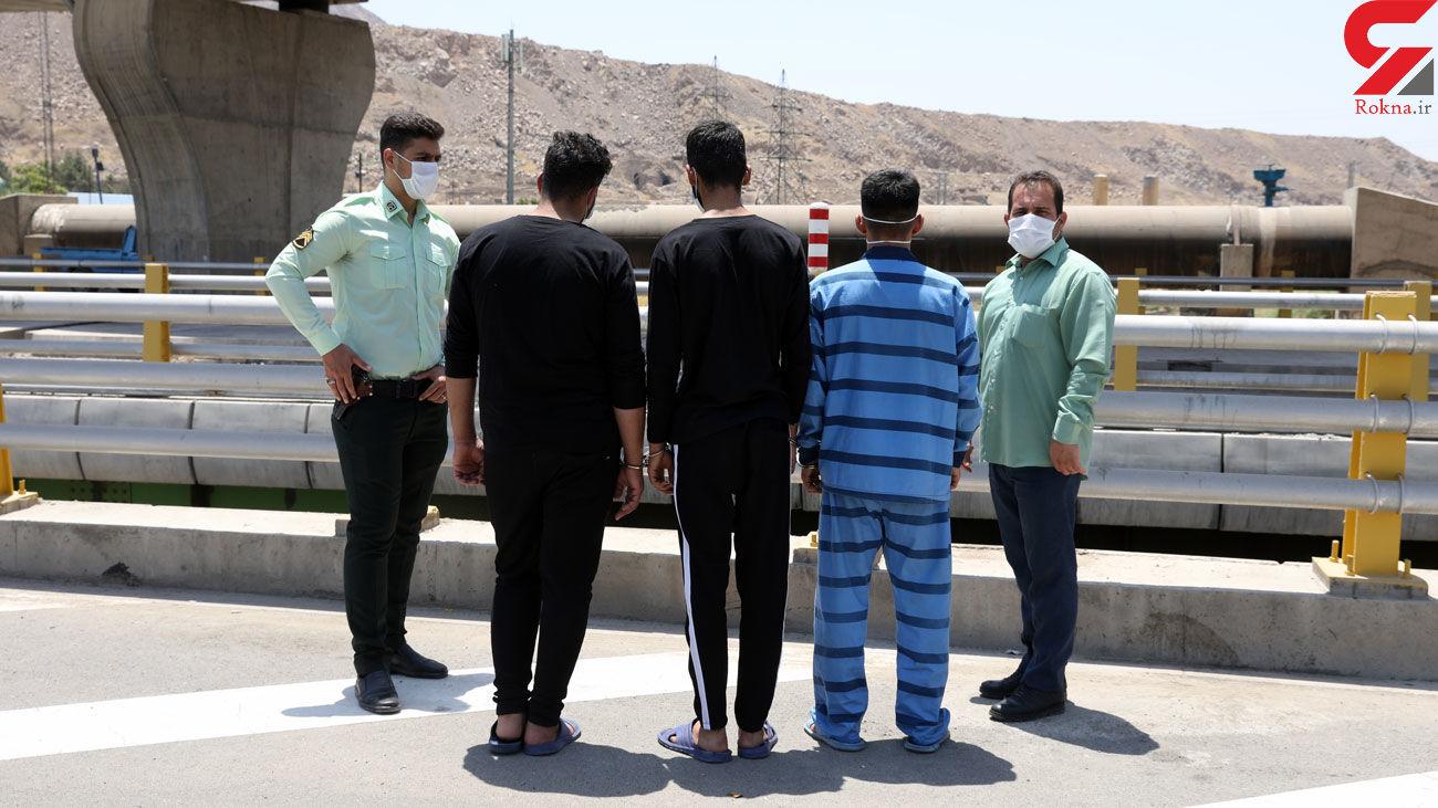 فیلم لحظه پایین انداختن جنازه مرد ثروتمند از پل امام علی تهران به کانال مشیریه  + گفتگو با قاتلان