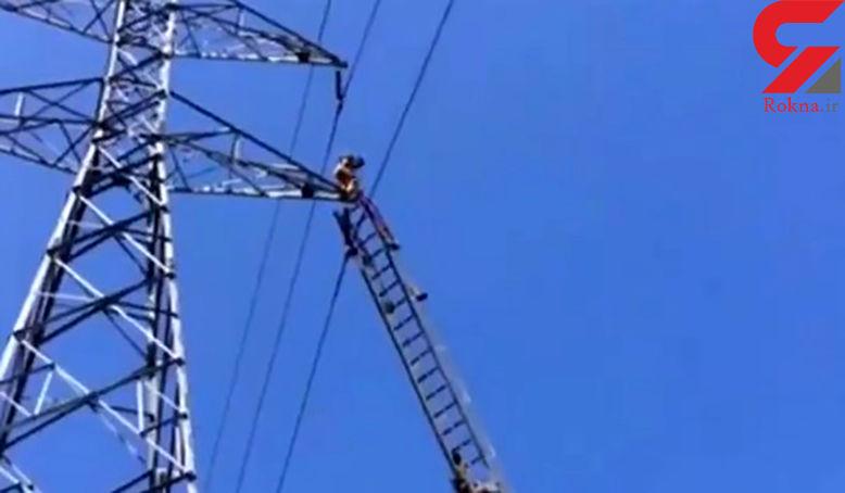 خودکشی از روی دکل برق در جنوب تهران + وحشتناک ترین عکس