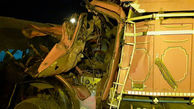 واژگونی کامیون حامل بار شن در محور دماوند - فیروزکوه
